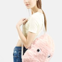 Topshop Faux Fur Drawstring Backpack - Pink