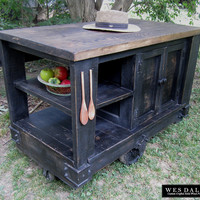 Modern Rustic Kitchen Island Cart with Walnut Stained Butcher Block Top (Distressed Black)