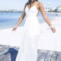 Fond of You Off White Open Back Slit Maxi Dress