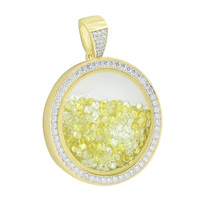 Round Canary White Floating Diamond Pendant