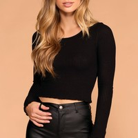 Afternoon Breeze Black Long Sleeve Crop Top