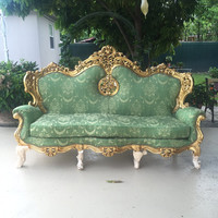 Baroque Settee Bergere Green Furniture Italian Antique Sofa Throne Chair Refinish Gold Leaf Reupholster Green Damask French Louis XVI Rococo