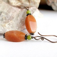Colors of Autumn Stone Earrings Aventurine New Jade Antiqued Copper