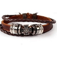 New Arrival Shiny Great Deal Gift Hot Sale Awesome Stylish Punk Rivet Men Cross Rack Leather Korean Accessory Bracelet [6526716675]