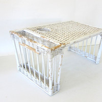 Vintage Wicker Breakfast in Bed Tray Table / rustic and shabby
