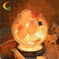 110V-220V E17  European retro authentic Himalayan salt crystal lamps  air purifying lamp bedside lamp night