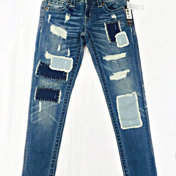 Miss Me Patch Work Cuffed Skinny Jeans
