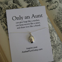 AUNT NECKLACE // Sterling Silver LOCKET Necklace. Aunt Sterling Silver Gift // Gift for Aunt // For Aunt Sterling Silver Necklace