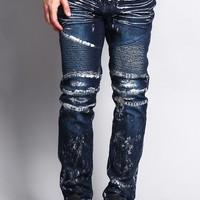 Foil Edge Biker Denim Jeans