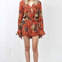 Sunshine + Florals Long Sleeve Romper {Rust Mix}