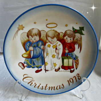 Berta Hummel 1978 Christmas Plate Heavenly Trio New in Box Angel Decor