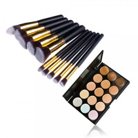 【Buy 1 Get 1 FREE 】10pcs Makeup Brush Kit Pince Maquiagem & 15 Color Concealer Palette Womens Gift