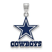 925 Sterling Silver Dallas Cowboys NFL Football Necklace Charm