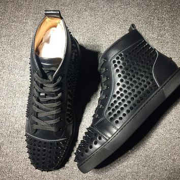 DCCK Christian Louboutin high tops CL fashion casual shoes red sole for men and women sneakers 90521