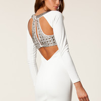 WHITE FAITH OPEN BACK BODYCON DRESS