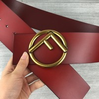 Fendi new simple men and women models wild fashion smooth buckle belt Red