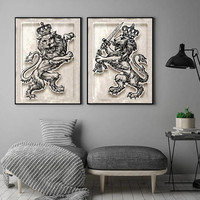 Lions Rampant set, Instant Download, 18 x 24 inches, digital download