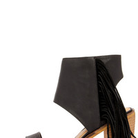 Very Volatile Vermont Black Fringe Ankle Cuff Sandals