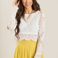 Eleanor Longsleeve White Lace Top
