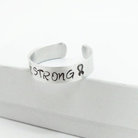 Hand-stamped Be Strong ring - Cancer awareness ring Cancer awareness ribbon - Message ring
