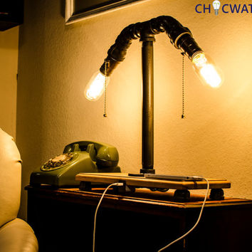 Industrial style lamp with iphone ipad ipod USB charger - radio style bulb