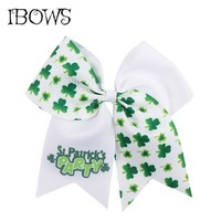 7'' Girls Glitter Large Cheer Bows Printed Green Shamrock Hairbows With Elastic Bands St. Patrick's Day Kids Cheerleading Bow