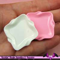 4 pc Miniature DECODEN PLATES Square Flatback Kawaii Cabochon 34mm