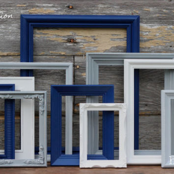 navy blue grey white picture frames from hydeandchicboutique. Black Bedroom Furniture Sets. Home Design Ideas