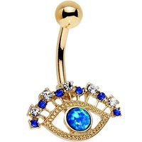 Multicolored Gem Blue Faux Opal Gold Anodized Glamour Eye Belly Ring