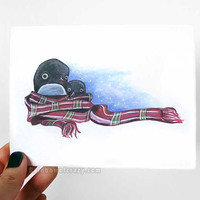 Cute Penguin Card, Merry Christmas, Blank Art Card, Personalized Name, Custom Message, Xmas Card, Happy Holidays, Winter Scarf