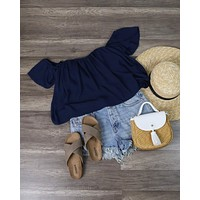 Final Sale - Honey Punch - Casual Chic Off The Shoulder Short Sleeve Top in Navy