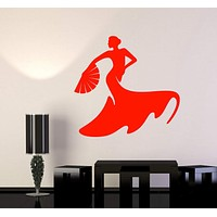 Vinyl Wall Decal Flamenco Dance Dancer Spanish Woman Passion Stickers Unique Gift (966ig)