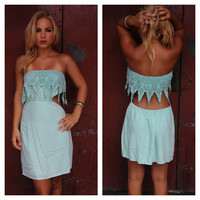 Mint Strapless Eyelet Low Back Dress