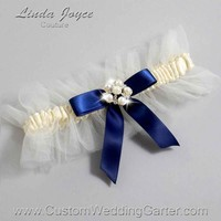 """Navy Blue and Ivory Tulle Pearl Bridal Garter """"Natalie 20"""" Silver"""