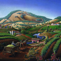 Old Wine Country Landscape Painting - Wagon Drive Delivering Grape To The Winery - Vintage Americana by Walt Curlee
