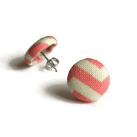Button Earrings, Surgical Steel, Stud Earings, Jewlery, Fabric Earings, Chevron Earring, Button Earings, Fabric Earrings, Chevron, KAYEganda
