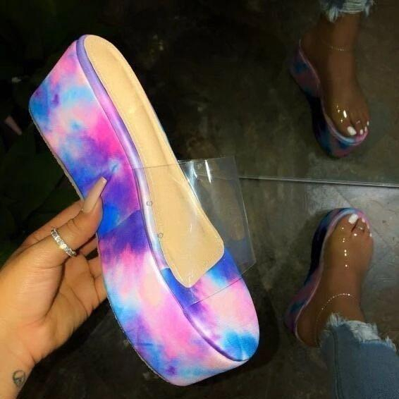 Image of 2020 summer new women's shoes wedge heel flat transparent slippers tie dye shoes purple