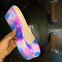 2020 summer new women's shoes wedge heel flat transparent slippers tie dye shoes purple