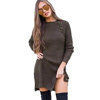 Belva 2017 Autumn Breathable Maternity Dresses Cotton Knitting Wool Side Straps Long Sleeved Sweater Dress Pregnant Clothes 760