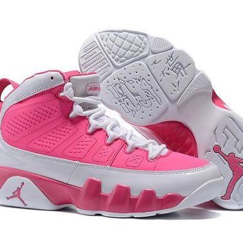 DCCKIJ2 Womens Air Jordan 9 Retro Leather High 302370-029 Basketball Shoes Grey Pink