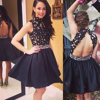short Homecoming dress,homecoming Dress for girls,black Prom Dresses,high neck prom dress,BD614