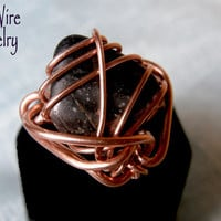 Mens Onyx Ring on Copper Wire