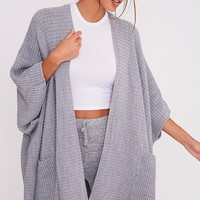 Yazmine Grey Chunky Knit 3/4 sleeve Wrap Cardigan