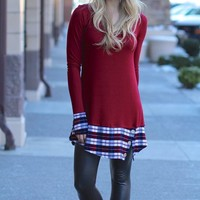 Feeling Plaid Burgundy Tunic Dress With Buttons