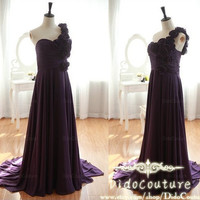 A-line One-shoulder Chapel Train Chiffon with Flowers 2014  Prom Dress