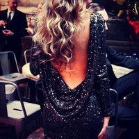 Sexy Backless Sequin Dress Evening Dresses