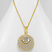 The Camila 18K Gold Over Brass Circular Gem Stone Statement Necklace