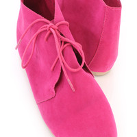 Fuchsia Cute Oxford Ankle Booties Faux Suede