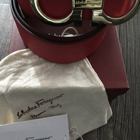 Big Gold Buckle Red Salvatore Ferragamo Belt Size 38-42