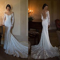 Long Sleeve white lace Mermaid  Berta Bridal gowns 2017 Lace Boho wedding Dresses Sexy Backless Off The Shoulder Bridal Gown